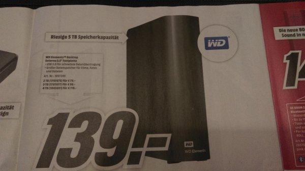 Media Markt WD Elements 3,5 Zoll 5 TB externe Festplatte für 139 Euro.