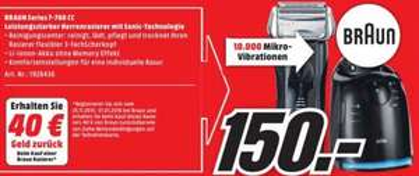[Lokal Media Markt Trier] Braun Series 7-760 CC für 150€ (110€ über Cashback)PVG : 190€