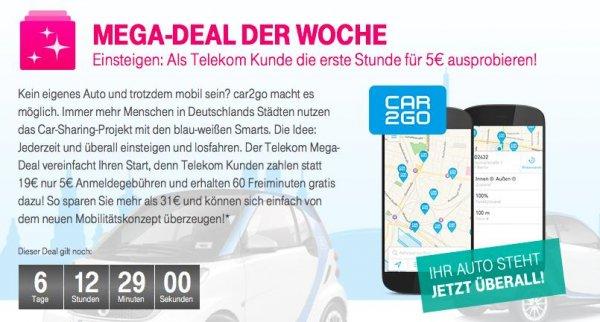 car2go inkl. Anmeldegebühr und 60 Gratisminuten für 5€ für Telekomkunden