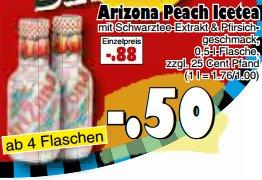 [JAWOLL] Arizona Icetea Pfirsich 0,5l für 0,50€ am 28.11.2015 ab 4 Flaschen