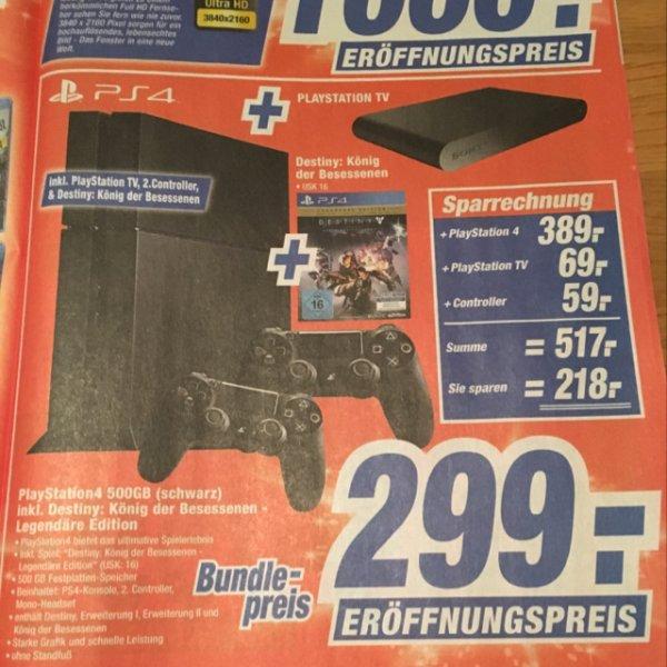 Lokal Schwerin PS4 500GB + PlayStation TV + 2. Controller + Destiny:König der Besessenen Legendäre Edition