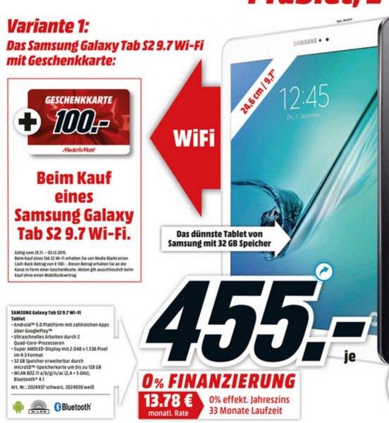 [MediaMarkt] Samsung Galaxy Tab S2 9.7 32GB Wifi für 455€ + 100€ Geschenkkarte