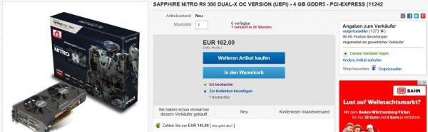 Sapphire Nitro R9 380 DUAL-X OC 4 GB Grafikkarte 162€ [Paypal Gutschein: 145,80€)