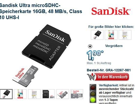 Sandisk Ultra microSDHC-Speicherkarte 16GB für 6,80 euro inkl. Versand