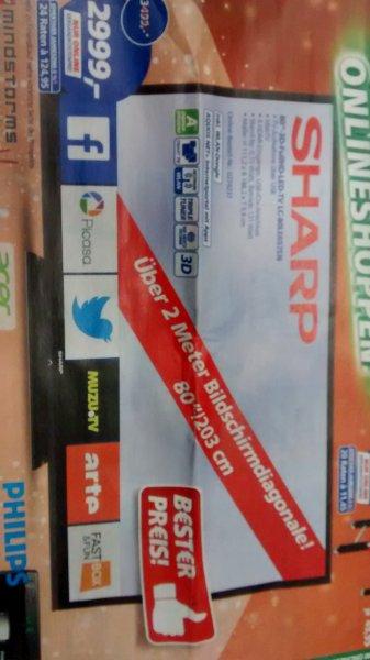 "[,-real online]Sharp 80"" FullHD 3D LED LC-80LE657EN für 2999€"