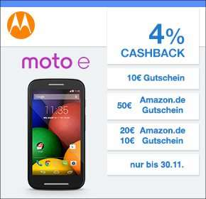 [Qipu] Motorola mit 4% Cashback +bis zu 50€ Amazon.de Gutschein - z.B. Nexus 6 für 380€ - 25€ Amazon , Moto 360 299- 25€ Amazon