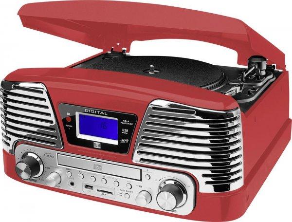 Dual NR 6 Nostalgie-Komplettsystem (UKW-Radio, Plattenspieler, Direct-Encoding, CD/MP3-Player, USB, SD-Card, Fernbedienung) rot für 42,50 € @ Conrad Black Week