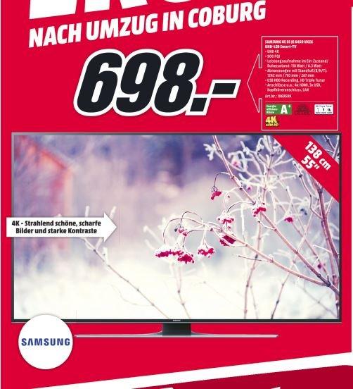 "[Media Markt Coburg] Samsung UE55JU6450 55"" 4K-TV mit Triple-Tuner (LED) für 698,- € (Idealo: 795,- €) - lokal!"