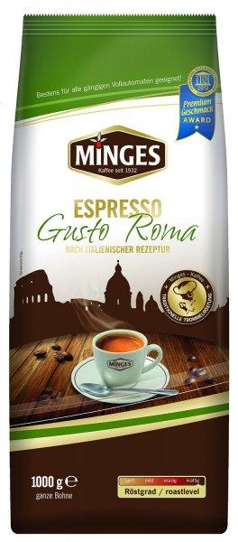 [AMAZON]1kg Minges Espresso Gusto Roma, ganze Bohne ab 8,88€ statt 11,64€ (4v5 Sternen)