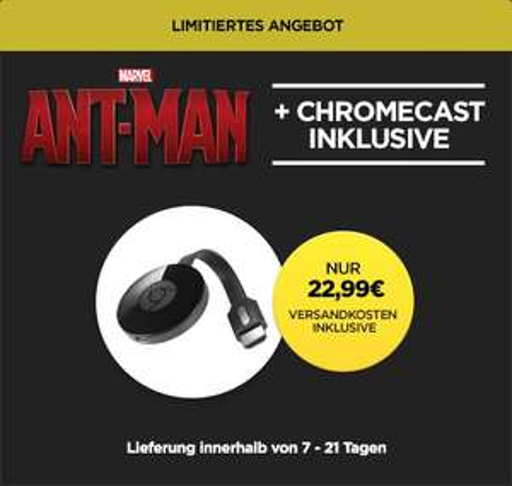 "[Wuaki] Google Chromecast 2 (2015) + ""Ant-Man"" (Stream) für 22,99€ @Black Friday"