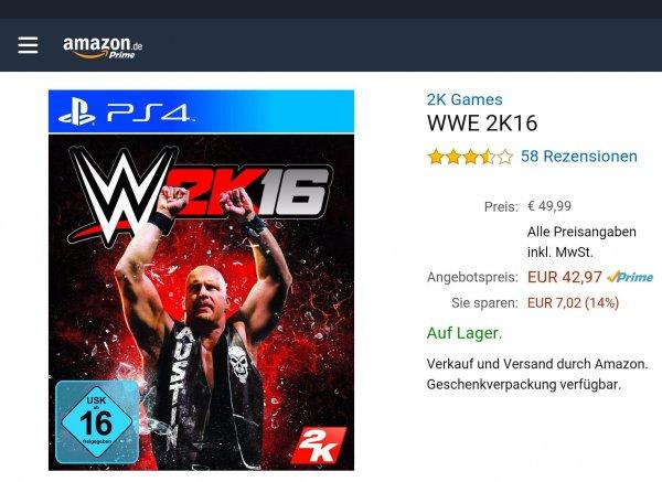 [Amazon CyberMonday] WWE2K16 PS4+XB1