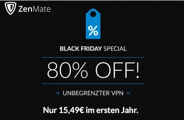 Back Friday Special: 15,49 € statt 77,88€ für ein Jahr ZenMate Premium (Internet Security VPN)