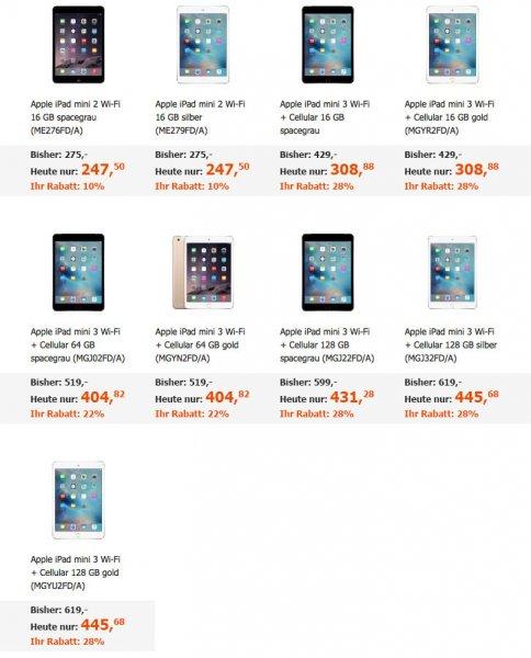 Apple iPad Mini 3 + Cellular knapp 10%-20% günstiger @Cyberport Black Friday