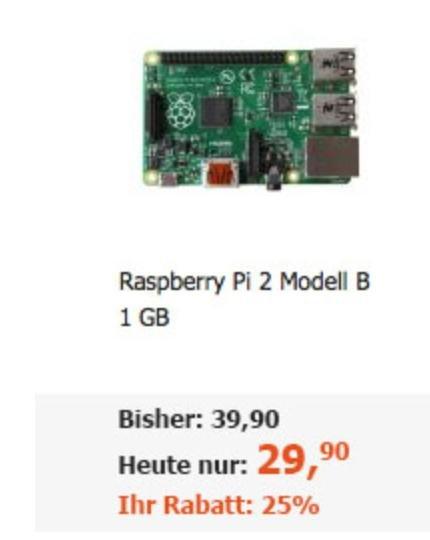 [Cyberport/@Black Friday] Raspberry Pi 2 für 29,90€ - Code 1123-00FBF15 + 2,99€ VSK oder Abholung