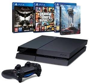 [Amazon.fr] Playstation 4 (500 GB) + Star Wars Battlefront (Steelbook) + GTA V + Batman Arkham Knight für 353€ inkl. Versand @Black Friday