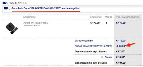 nur heute: 75€ Rabatt auf Apple TV 4