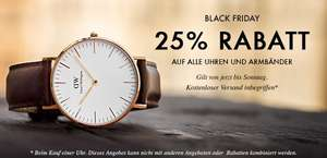 Black Friday - Daniel Wellington - Uhr - 25% Rabatt auf das ges. Sortiment