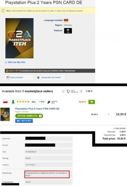 DE PlayStation Network Plus PSN+ 24Monate Mitgliedschaft @ G2A