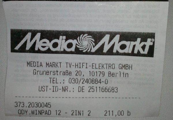 Odys Winpad 12 für 211€ - PVG 269 (offline lokal Berlin?)