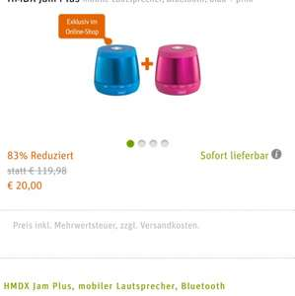 2x HMDX Jam Plus BT Lautsprecher blau + pink