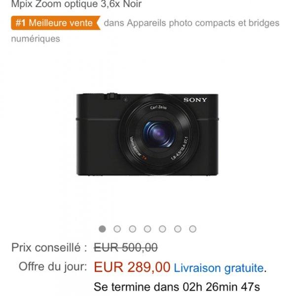 Sony RX 100 Amazon.fr für 289€ Neu oder 245€ mit WHD plus 6,90€ Porto