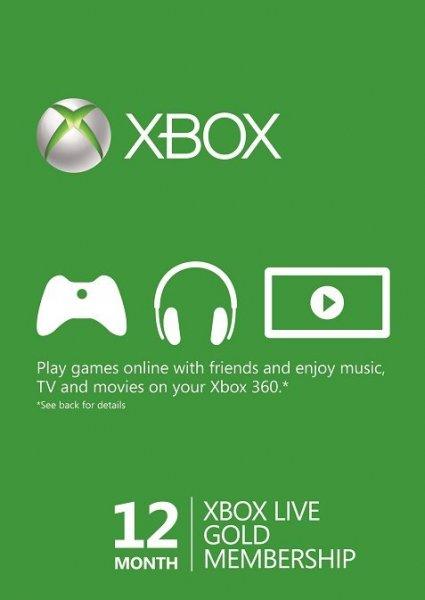 XBOX Live 12 Monate Gold-Mitgliedschaft - 27,32 €