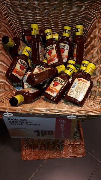 (Lokal) Bull's Eye Hot Chilli BBQ Sauce (425 ml) für 1 Euro bei Rewe in Alzenau
