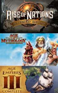 Rise of Nations Extended Edition 4.99€, Age of Mythologie Extended Edition 6.99€, Age of Empires® III: Complete Collection 7.39€