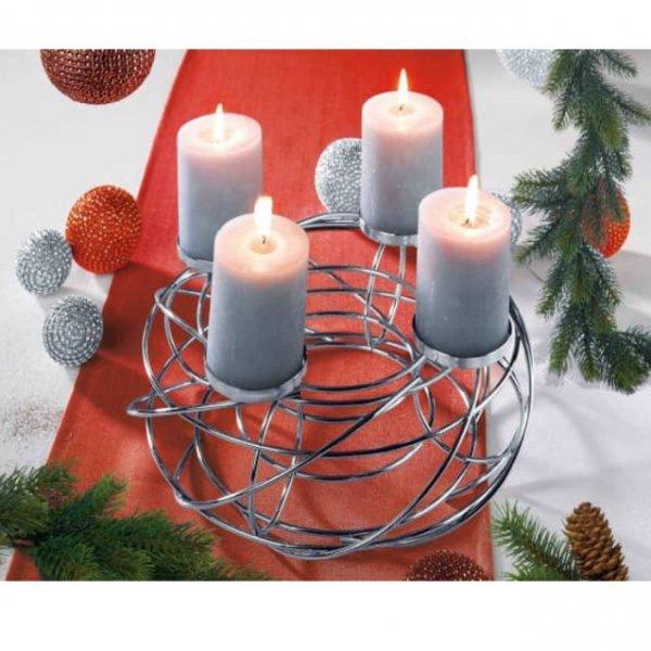 [Ostermann.de] Zum 1. Advent  Adventskranz Kerzenhalter aus Metall in Chrom für unter 8€