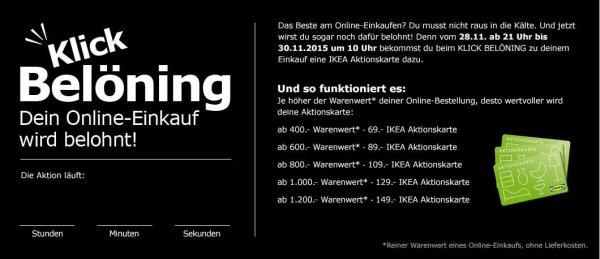 [IKEA] KLICK BELÖNING - Online bis Montag, 30.11.15 einkaufen & eine IKEA Aktionskarte mit bis zu 149.- sichern