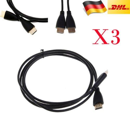 Wieder da! 3x HD 1080P HDMI 1.3 Kabel 6ft/1.8m für 1€ !