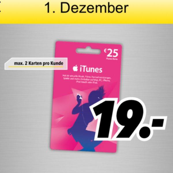[lokal] MediMax Süd/Ost iTunes 25 Euro für 19 Euro - nur am 01.12.