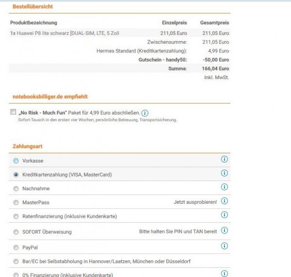 50 € Gutschein auf fast alles Handies bei notebooksbilliger.de z.b. Huawei P8 lite für 166.04€ inklusive Versand