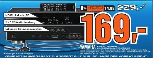 Yamaha RX-V371 Bl 5.1 AV-Receiver (HDMI, 1080p-kompatibel, 3D-Ready) schwarz [LOKAL Saturn Göttingen]