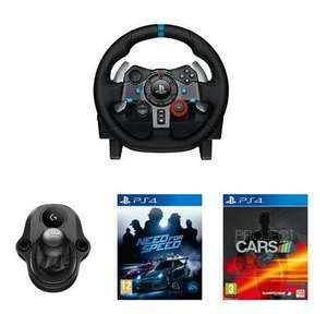 Logitech G29 Driving Force + Logitech Driving Force Shifter + Project Cars (PS4) + Need for Speed (PS4) für 306,54€ bei Amazon.fr