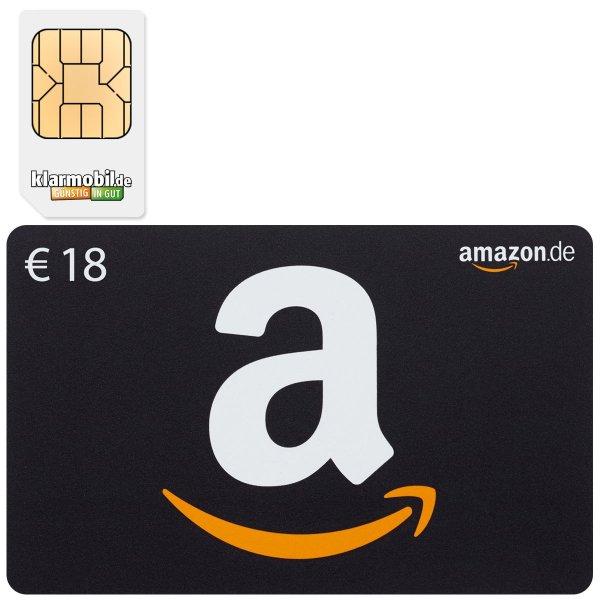 EBAY - klarmobil SIM-Karte + 18,00 EURO AMAZON Gutschein für 1,95 Euro