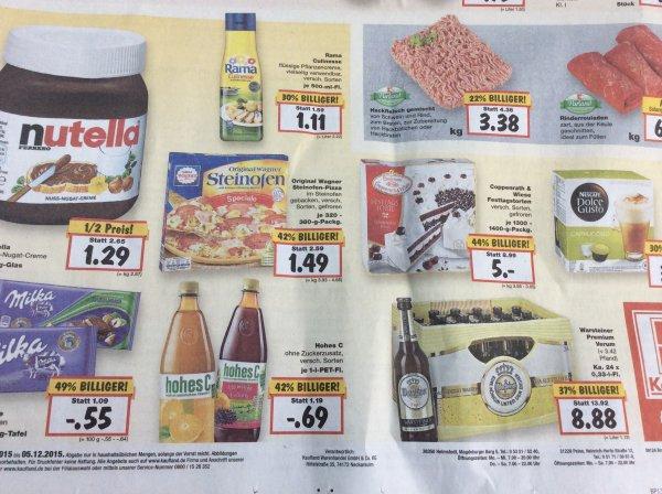 Nutella 450 g EUR 1,29 und Warsteiner 24er EUR 8,88@Kaufland BS