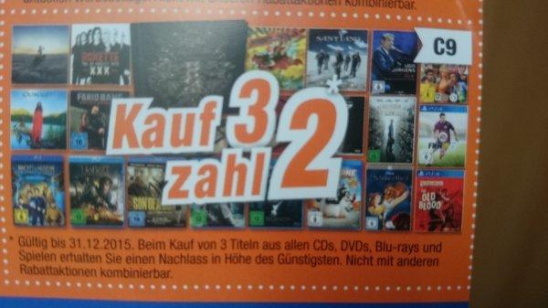 Kauf 3 zahl 2 Coupon für CDs, DVDs, Blu-rays und Spiele bei Expert (SW,HAS,KG,FO)