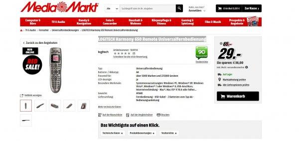 LOGITECH Harmony 650 Remote Universalfernbedienung@MediaMarkt 29 €