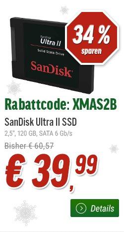 SanDisk Ultra II 120 GB für 42.98€