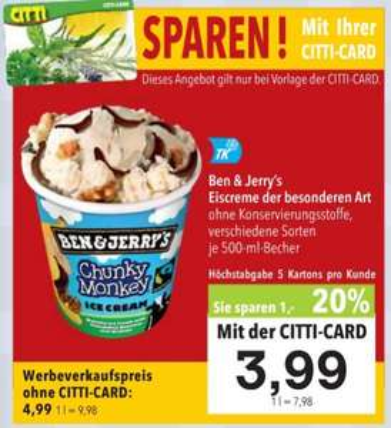Ben&Jerry's™ - Eiscreme (500ml,8 Varianten) für €3,99 [@Citti]