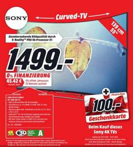 [lokal MM Bad Kreuznach] Sony KD-55S8505C + 100€ Gutschein für 1499,- (Curved, 4K, Ultra-HD, Twin-Sat, 3D, Triluminos, Android TV)
