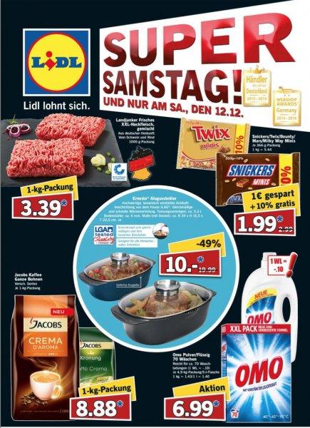 """[Lidl/Bundesweit] Snickers/Twix/Bounty/Mars/Milky Way Minis (333g+10% =366g) für 1,99€ und Ernesto Alugussbräter für 10€ am """"Super Samstag"""" dem 12.12.2015"""