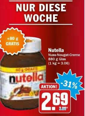 [HIT Leipzig] Nutella 880g Glas für 2,69€ (3,06€/kg) bis 05.12.