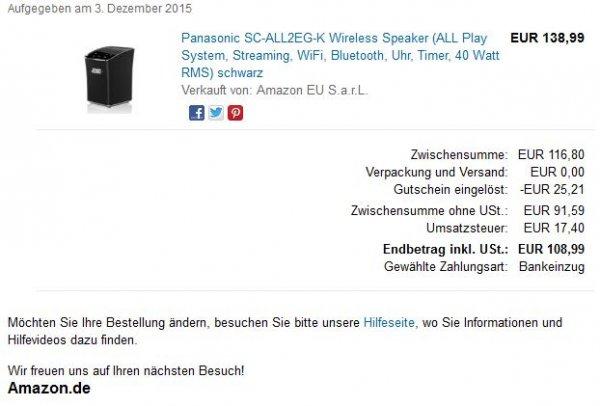 Panasonic SC-ALL2EG-K Multiroom Lautsprecher Amazon