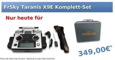 FrSky Taranis X9E + X6R 2,4GHz RC-Empfänger + Soft Case ca. 10% sparen.
