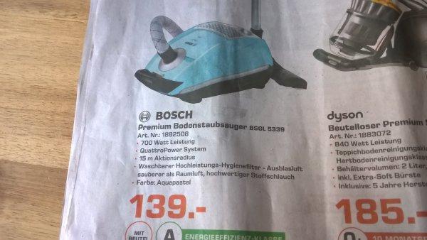 [Lokal Saturn Hannover, Isernhagen] BOSCH BSGL5339 Staubsauger für 139€, vergl. Modell (andere Farbe, BSGL5318) bei Idealo 159,80€, Geizhals 159,90€