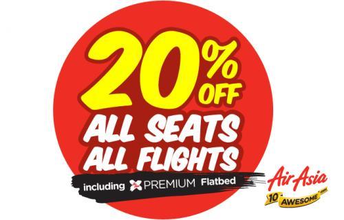 Air Asia - 20% Rabatt auf alle Flüge