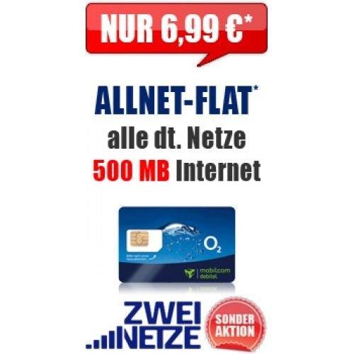 Allnetflat (Sprachflat + 500 MB) Keine Datenautomatik,keine Anschlussgebühr, 24 Monte x 6,99€ mtl.