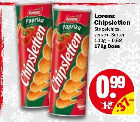 [NP Discount] Lorenz Chipsletten versch. Sorten 170gr  0,99€